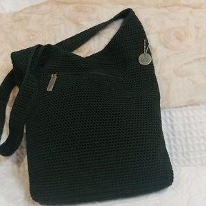 The Sak Black Crocheted Hobo Bag
